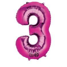 """Amscan Fóliový balónek číslo """"3"""" RŮŽOVÝ, 88 cm"""