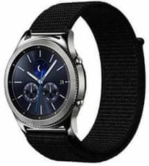 eses Nylonový řemínek na suchý zip pro Samsung Galaxy Watch 46mm / Gear S3, černý (1530001108)