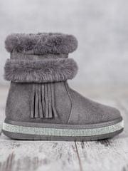 Klasické šedo-stříbrné dámské sněhule bez podpatku