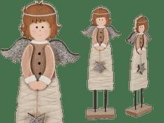 TORO Anděl dřevěný s hvězdou, dřevěná základna 30x7 cm