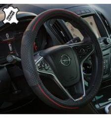 4Cars 4CARS Potah volantu 37-39cm koža černý s červeným obšitím