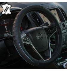4Cars 4CARS Potah volantu 37-39cm koža černý s modrým obšitím