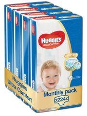 Huggies Ultra Comfort 3 Jumbo (5-9 kg) 224 ks (4x56 ks) - Mesačné balenie