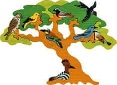Fauna  Dřevěné vkládací puzzle z masivu strom stěhovaví ptáci