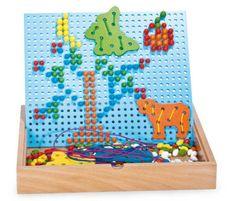 Small foot Small Foot Dřevěné kreativní hračky nasouvací a navlékací puzzle