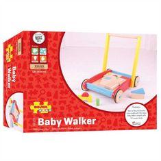 Bigjigs Toys Bigjigs Baby Dřevěné kostky ve vozíku