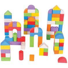 Bigjigs Toys Bigjigs Baby Dřevěné kostky barevný set 100 kusů