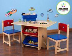KidKraft KidKraft Stůl Star se dvěma židličkami a boxy