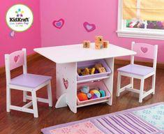 KidKraft KidKraft Stůl Heart se dvěma židličkami a boxy