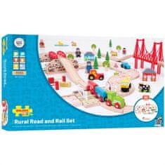 Bigjigs Rail  Dřevěná vláčkodráha s venkovskou cestou 80 dílů