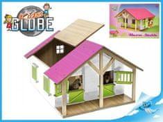 Mikro Trading Dřevěná stáj pro koně s odjímatelnou střechou růžová