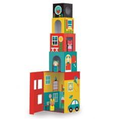 Petitcollage  Věž z 1-2-3 kostek domečky s postavičkami