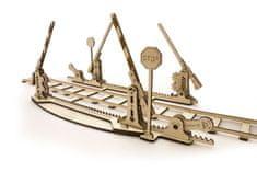 UGEARS  Dřevěná stavebnice 3D mechanické Puzzle Železniční přejezd s kolejemi