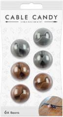 Cable Candy kábelový organizér Beans, 6 ks, šedá a hnedá