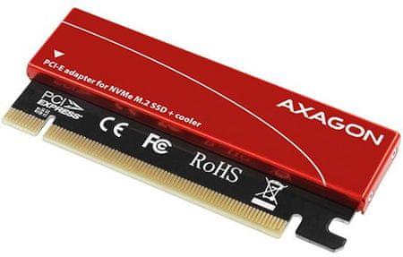 AXAGON PCEM2-S radič, PCIe x16 - M.2 NVMe M-key slot adaptér, pasívny chladič