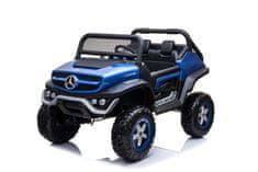 Beneo Elektrické autíčko Mercedes Unimog modrý lakovaný, Pohon 4x4, 12V/14Ah, EVA kolesá, dvojmiestne