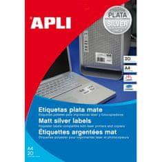 Apli Etikety polyesterové 63,5x29,6mm A4 20 hárkov strieborné
