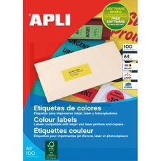 Apli Etikety farebné 70x31mm APLI A4 100 hárkov fluo červené