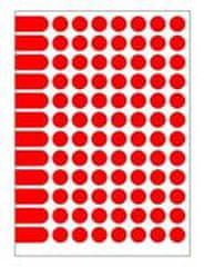 Apli Etikety kruhové 15mm A5 červené