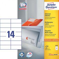 Avery Zweckform Etikety univerzálne 105x42,3mm Avery A4 100 hárkov