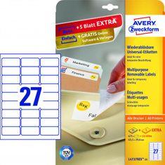 Avery Zweckform Etikety univerzálne odnímateľné 63,5x29,6mm Avery A4 25+5 hárkov