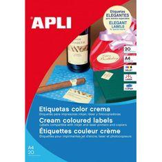 Apli Etikety farebné 210x297mm A4 20 hárkov krémové