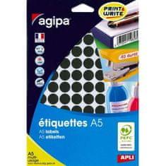 Apli Etikety kruhové 15mm A5 čierne
