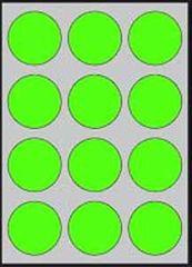 Apli Etikety farebné priemer 60mm A4 20 hárkov fluo zelené