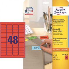 Avery Zweckform Etikety Avery odnímateľné 45,7x21,2 mm červené