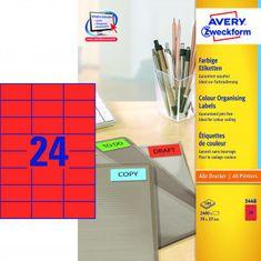 Avery Zweckform Etikety farebné 70x37mm Avery A4 100 hárkov červené