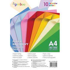Gimboo Farebný papier A4 100 listov 80g 10 neónových farieb