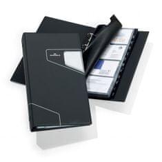 Durable Vizitkár prenosný 4-krúžkový na 200 vizitiek VISIFIX PRO čierny