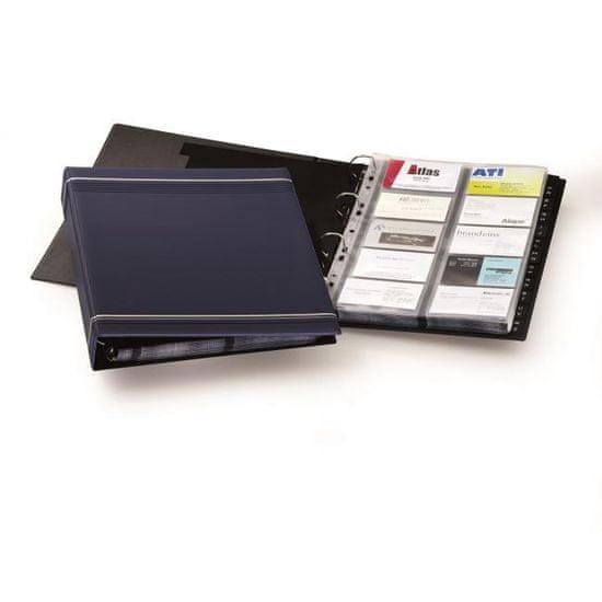 Durable Vizitkár prenosný 4-krúžkový na 400 vizitiek VISIFIX A4 modrý