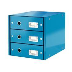 LEITZ Zásuvkový box Click & Store 3 zásuvky metalická modrá