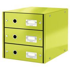 LEITZ Zásuvkový box Click & Store 3 zásuvky metalická zelená