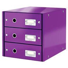 LEITZ Zásuvkový box Click & Store 3 zásuvky purpurová