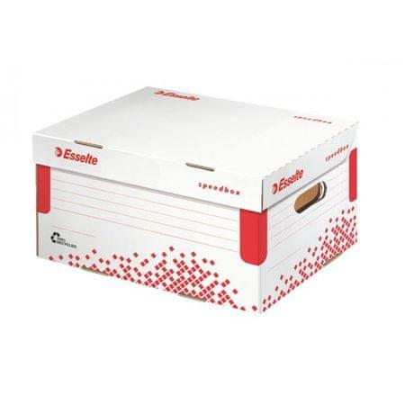 Esselte Archívna škatuľa Speedbox A4 so sklápacím vekom biela/červená