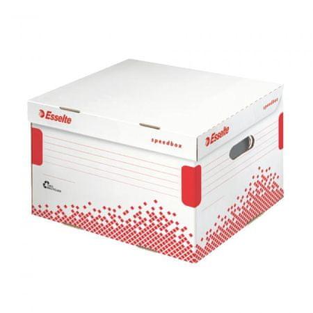 Esselte Archívna škatuľa Speedbox M so sklápacím vekom biela/červená