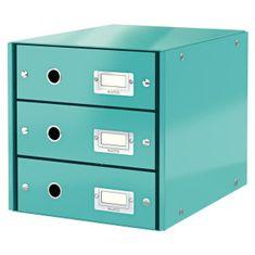 LEITZ Zásuvkový box Click & Store 3 zásuvky ľadovo modrá