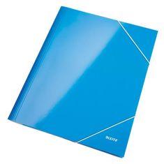 LEITZ Kartónový obal lesklý s gumičkou WOW modrý