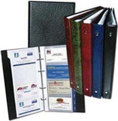 Karton P+P Vizitkár prenosný 4-krúžkový na 80 vizitiek s registrom modrý