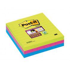 Post-It Bločky linajkové 101x101mm modré, zelené, ružové