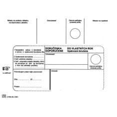Harmanec-Kuvert Poštové obálky B6 doručenka do VR OD, Doposielať, 100 ks