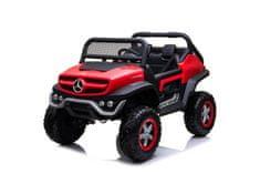 Beneo Elektrické autíčko Mercedes Unimog červený, Pohon 4x4, 12V/14Ah, EVA kolesá, široké dvojmiestne
