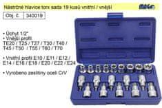 MAGG Nástrčné hlavice torx sada 19 kusů s vnitřním a vně