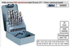 MAGG Vrtáky do kovu vybrušované 1-13mm HSS 25 kusů