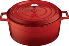 Lava Litinový hrnec kulatý 28cm - červený LVYTC28K2R