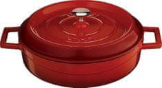 Lava Litinový hrnec nízký kulatý 24cm - červený LVYST24K2R