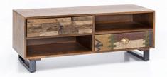 Bruxxi TV stolík so zásuvkami Patna, 120 cm, mangové drevo