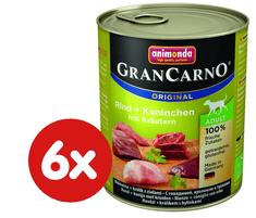 Animonda mokra hrana za odrasle pse GranCarno, govedina + zec+ bilje, 6 x 800 g